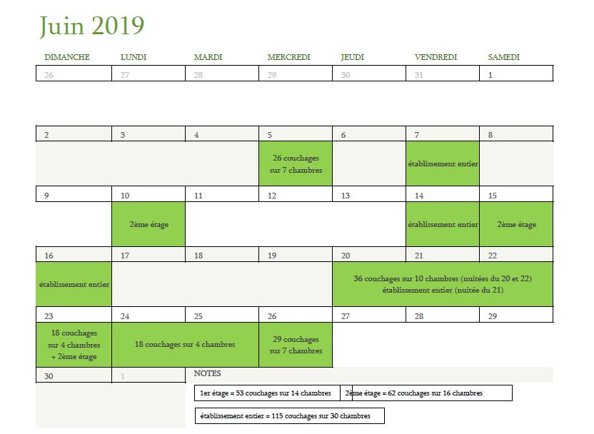 Calendrier des disponibilités pour juin 2019